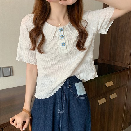 YF53988# 大码花朵短袖衬衫设计感娃娃女领t恤韩风chic短款别致上衣 服装批发女装直播货源