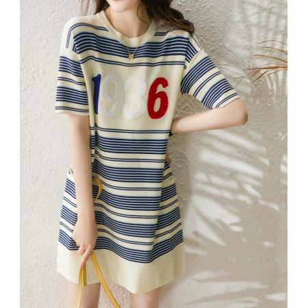 YF54249# 夏季新品韩版时尚撞色细条纹减龄字母椰树毛巾绣针织连衣裙 服装批发女装直播货源