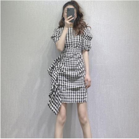 YF54254# 法式格子连衣裙女新款夏复古荷叶边设计感小众小个子气质显瘦 服装批发女装直播货源