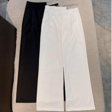 YF54275# 百搭宽松设计感不规则珠链高腰阔腿裤休闲气质西装裤