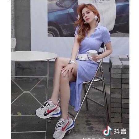 YF54500# 修身开叉v领长裙 服装批发女装直播货源