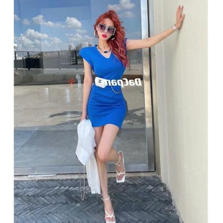 YF54503# V领彩色无袖连衣裙 服装批发女装直播货源