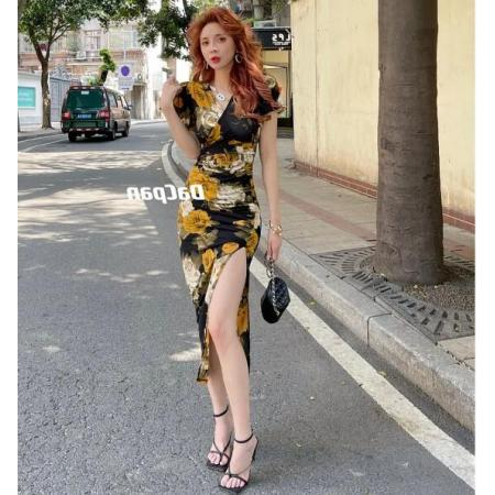 YF54505# 莫奈花园茶玫瑰连衣裙 右开叉 服装批发女装直播货源
