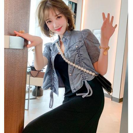 YF54522# 抽褶系带短款牛仔衬衫外套+吊带连衣裙两件套女春夏新款 服装批发女装直播货源