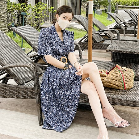 YF55254# 夏装新款韩版长裙时尚腰带收腰双排扣西装领碎花连衣裙 服装批发女装直播货源