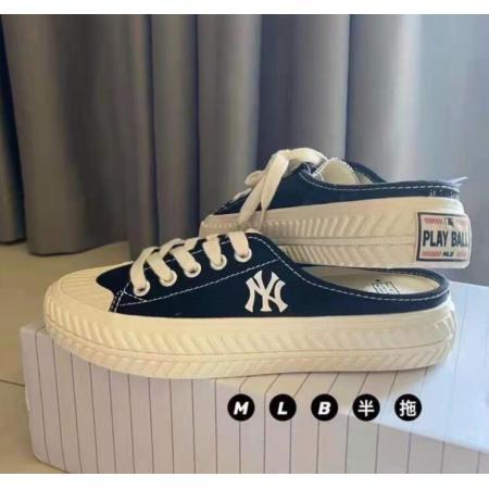 X-25668# 半拖帆布鞋洋基队休闲小白鞋饼干女鞋男硫化NY情侣鞋
