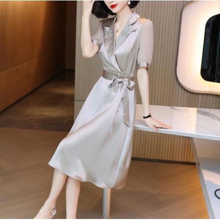 YF55693# 醋酸缎面纯色衬衫裙子女夏装新款修身真丝短袖连衣裙 服装批发女装直播货源