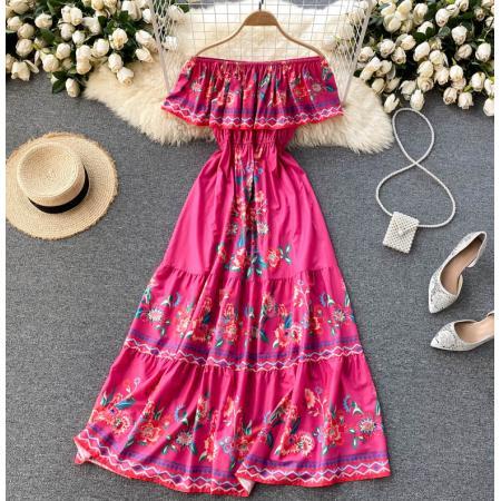 YF56254#  一字领露肩甜美荷叶边修身长款度假连衣裙新款夏季印花长裙子 服装批发女装直播货源