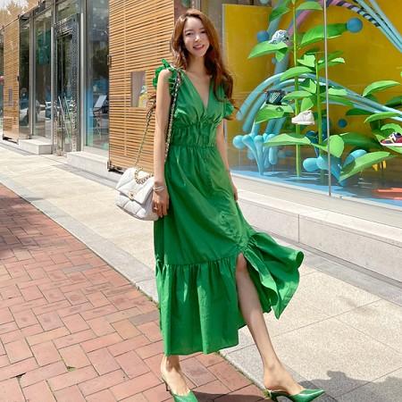 YF56392# 夏气质V领优雅赫本设计感单排扣收腰显瘦长款时尚连衣裙 服装批发女装直播货源