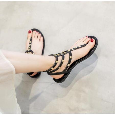 X-25723# 夹趾凉鞋女平底鞋新款夏季仙女风百搭软底显瘦沙滩铆钉罗马鞋