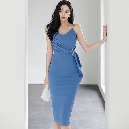 YF57723# 夏装新款韩版性感气质修身V领吊带裙收腰显瘦包臀连衣裙 服装批发女装直播货源