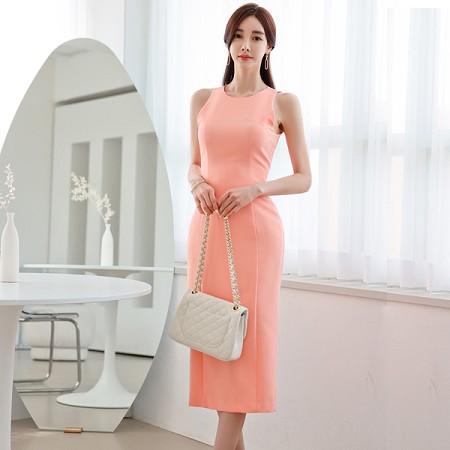 YF57724# 夏装新款韩版简约气质修身显瘦中长款无袖包臀连衣裙女 服装批发女装直播货源
