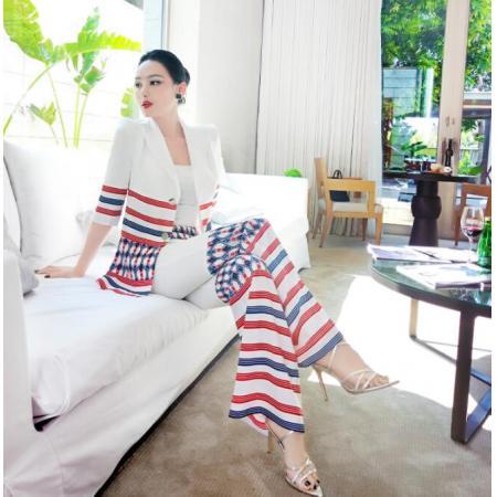YF58205# 夏季撞色OL职业套装女新款时尚小西服垂感拼接微喇叭裤两件套