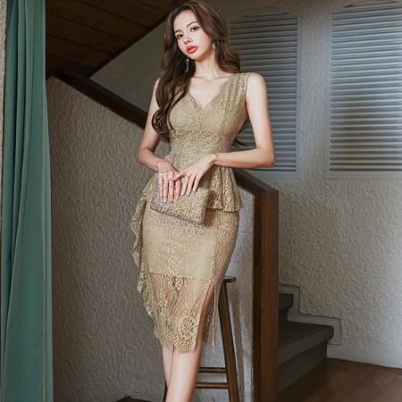YF59112# 夏装新款韩版气质V领修身荷叶边蕾丝包臀开叉性感连衣裙 服装批发女装直播货源