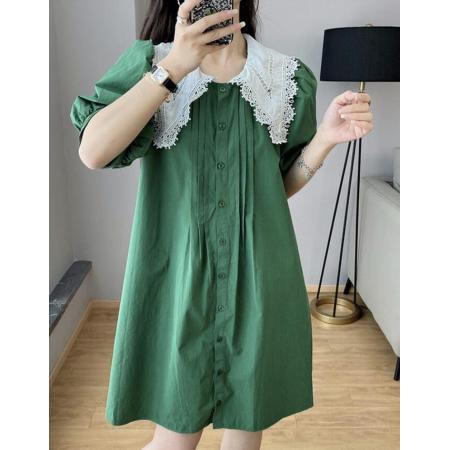 YF59296# 法式泡泡袖连衣裙女夏季新款洋气娃娃领衬衫裙显瘦裙子 服装批发女装直播货源