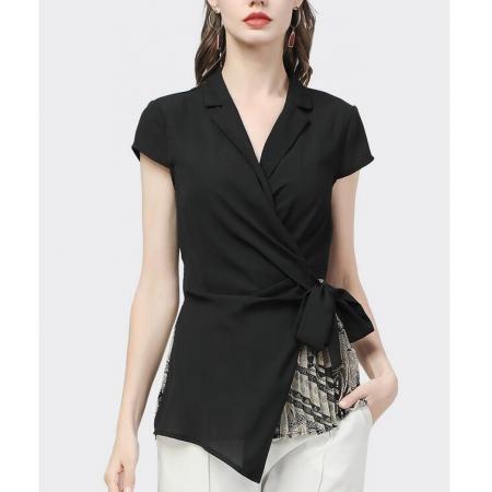 YF59478# 欧洲站设计感时髦雪纺衫新款夏季女装纯色系带气质衬衫潮 服装批发女装直播货源