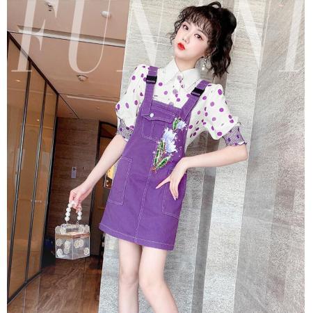 YF59726# 夏季时尚减龄小个子洋气泡泡袖雪纺衫背带裙两件套装女