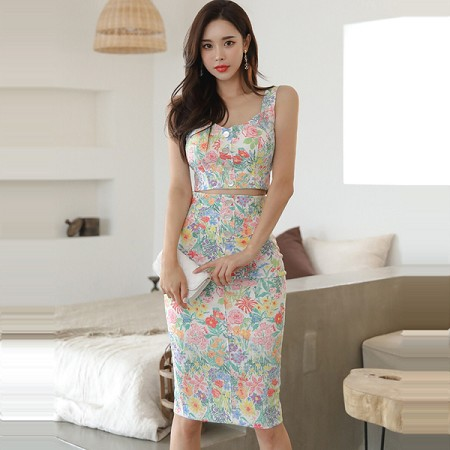 YF60340# 新款两件套夏韩版修身拉链吊带上衣收腰印花包臀裙套装 服装批发女装直播货源