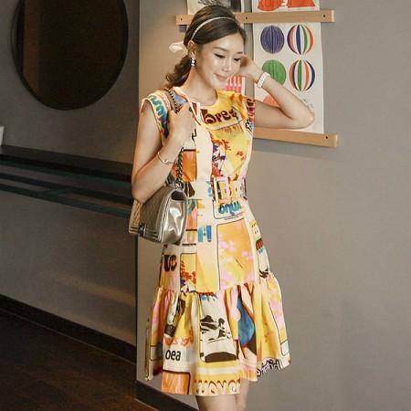 YF60341# 夏装新款印花设计感轻奢名媛气质腰带收腰时尚连衣裙女 服装批发女装直播货源