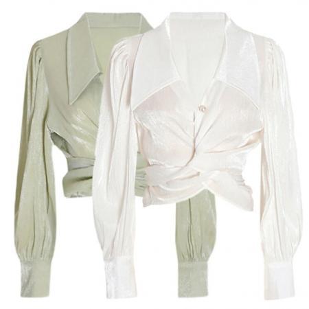 YF60583# 法式绿色高级交叉绑带衬衫夏季别致设计感短款雪纺衫露脐小众上衣