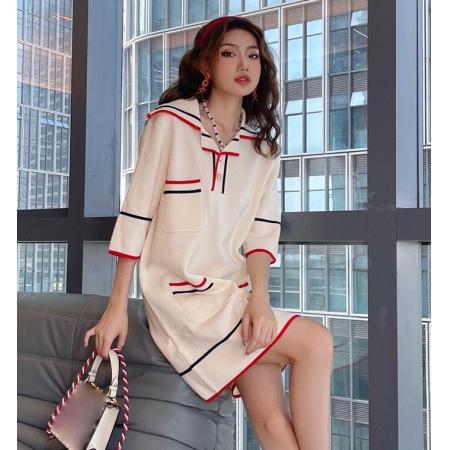 YF60911# 新款温柔风针织法式连衣裙女夏季设计感小众气质小裙子宽松 服装批发女装直播货源