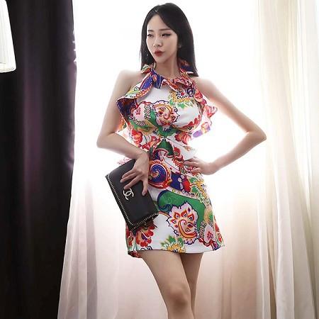 YF61499# 夏装新款韩版气质性感挂脖荷叶边收腰印花包臀裙连衣裙 服装批发女装直播货源