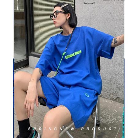 YF61506# 炸街运动套装女夏纯棉短裤学生宽松显瘦韩版休闲两件套网红ins潮