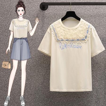 YF61675# 大码夏季蕾丝拼接印花T恤女短袖设计感小众薄款半袖上衣1227 服装批发女装直播货源