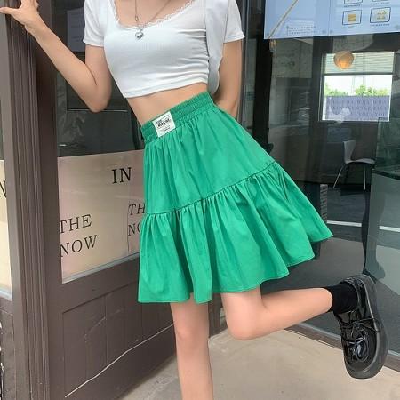 YF61676# 大码绿色半身裙女夏小个子防走光高腰a字短裙法式蓬蓬裙1230 服装批发女装直播货源
