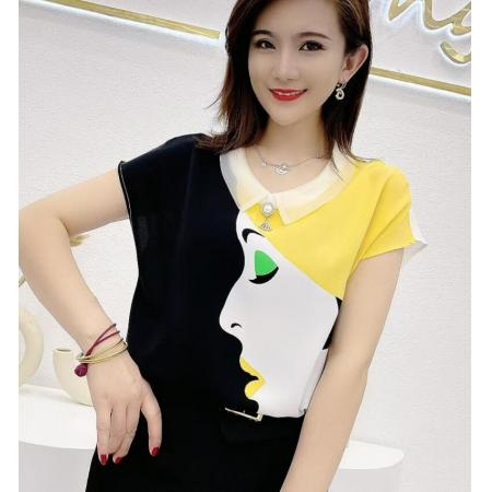 YF61874# 花朵衬衫女夏季薄款新款洋气美人宽松遮肚子别致牛奶丝上衣