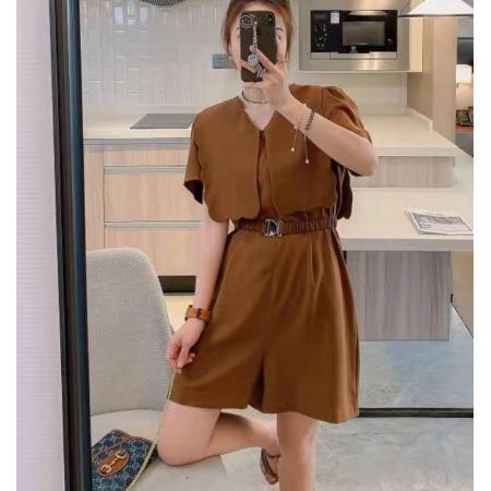 YF62053# 连体裤腰带收腰气质显瘦夏季新款韩版设计感纯色V领泡泡袖 服装批发女装直播货源