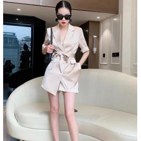 YF62116# 法式轻奢名媛套装女夏季时尚职业套装甜酷辣妹bi入系带显瘦西装裙