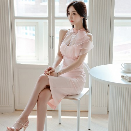 YF62491# 夏季新款韩版时尚名媛拼接连衣裙气质女人味包臀裙 服装批发女装直播货源