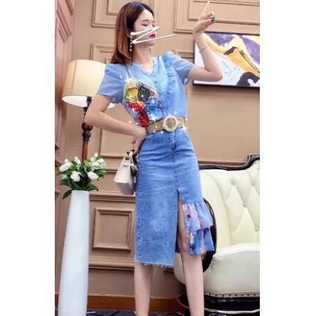 YF62912# 职业套装女夏季薄款新款油画衬衫收腰格纹半裙两件套 服装批发女装直播货源