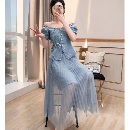 YF62921# 酷盐系套装夏新款女装牛仔上衣半身裙两件套炸街时尚套装夏装 服装批发女装直播货源