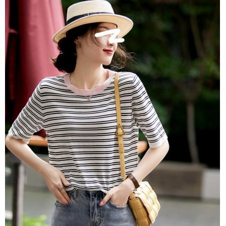 YF62990# 条纹控轻松软糯撞色短袖薄莱赛尔针织衫新款短袖上衣女 服装批发女装直播货源