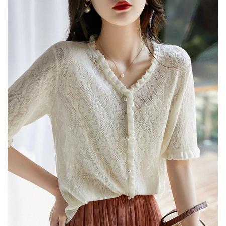 YF62991# 唤醒浪漫浮雕微镂空木耳边点缀针织小开衫 服装批发女装直播货源