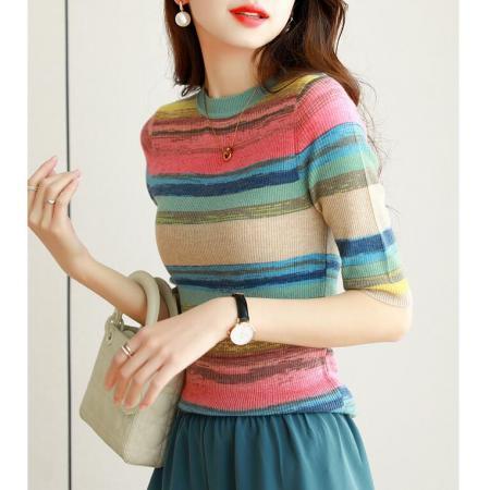 YF62994# 时尚百搭彩虹条纹拼色短袖圆领针织上衣T恤女夏季新款 服装批发女装直播货源