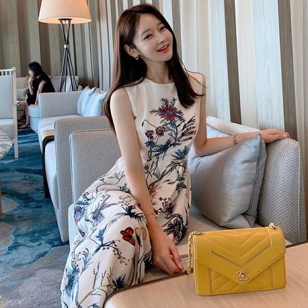 YF63414# 夏装新款韩版气质优雅收腰中长款印花大摆裙时尚连衣裙 服装批发女装直播货源
