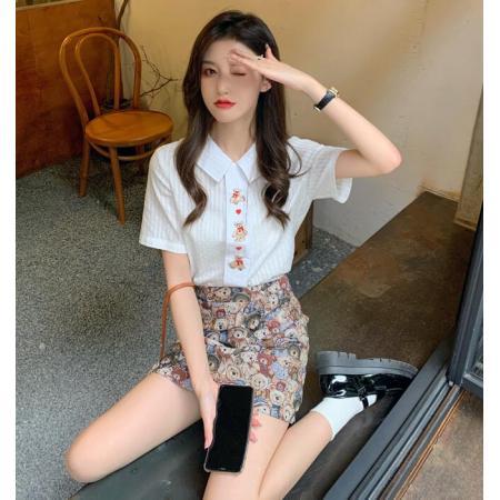 YF63658# 大码女装减龄小熊衬衣夏季2021新款复古POLO领设计感刺绣短袖上衣 服装批发女装直播货源