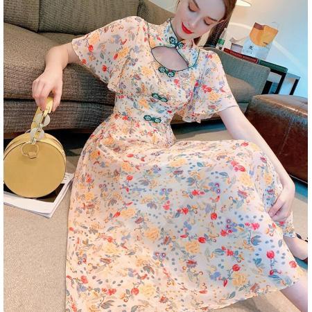 YF64203# 夏新款年轻款中国风旗袍改良版碎花设计感鱼尾连衣裙女 服装批发女装直播货源