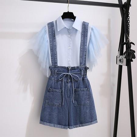 YF64435# 网红小个子牛仔背带短裤女夏季新款时尚气质减龄背带裤两件套 服装批发女装直播货源
