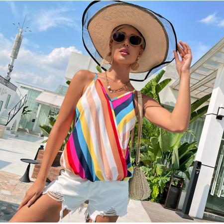 YF64886# 欧美跨境性感背心女装新款彩虹条吊带V领修身上衣 服装批发女装直播货源