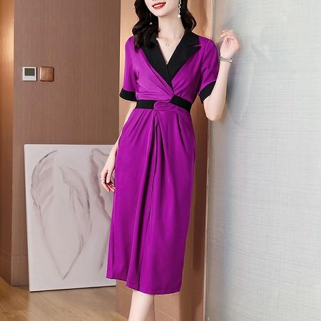 YF64912# 西装裙设计感小众女夏新款收腰显瘦气质开叉中长款西装连衣裙 服装批发女装直播货源