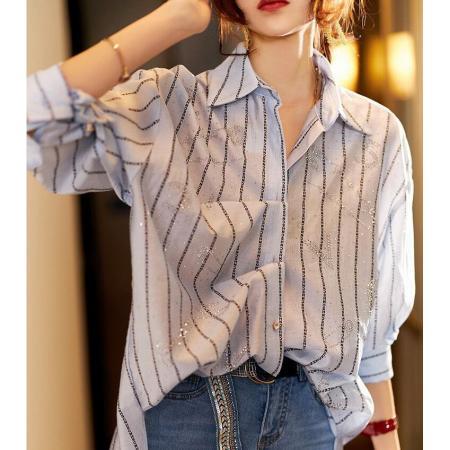 YF65878#  洋气条纹衬衫女设计感小众欧洲站女装中长款防晒上衣薄外套夏新款