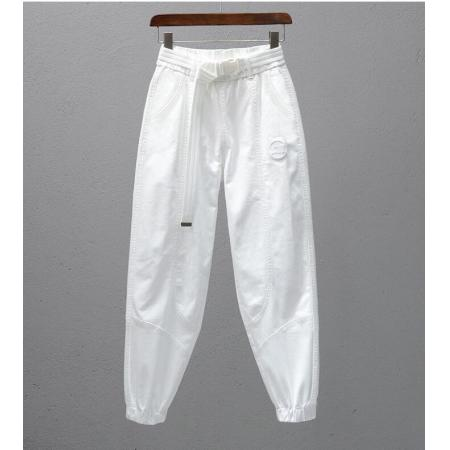 CX6310# 最便宜服装批发 新款白色裤子女松紧腰宽松休闲裤春夏新款潮流束脚显瘦萝卜哈伦裤