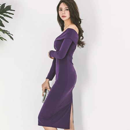 YF66794# 韩版秋装新款性感一字领修身显瘦连衣裙女长袖包臀中裙