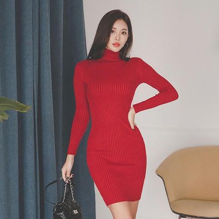 YF66795# 韩版秋冬装新款高领修身打底长袖针织连衣裙女包臀短裙