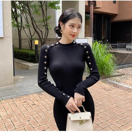 YF66829# 韩模秋装韩版重工纽扣装饰中领长袖修身包臀针织打底毛衣裙