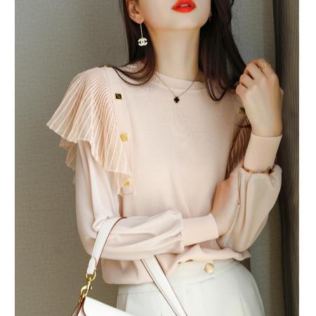 YF67015# 早春新款上衣衬衫女设计感小众法式荷叶边衬衣小衫 服装批发女装直播货源